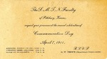 Commemoration Day Invitation, 1911