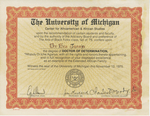 Certificate, 1975 November 12, Center for Afroamerican and African Studies at the University of Michigan by Center for Afroamerican and African Studies
