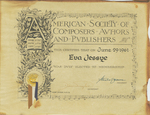 Certificate, 1961 June 29, American Society of Composers, Authors, and Publishers by American Society of Composers, Authors, and Publishers