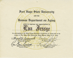 Certificate, 1980 May 28, Fort Hays State University and the Kansas Department of Aging by Kansas Department of Aging