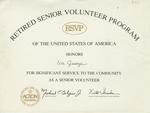 Certificate, n.d., Retired Senior Volunteer Program of the United States of America by Retired Senior Volunteer Program of the United States of America