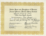 Certificate, 1984 January 29, Native Sons and Daughters of Kansas Annual Pioneer Factural Story Contest by Native Sons and Daughters of Kansas
