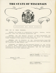 Certificate, 1978 February 17, Citation by the Senate by Senate of Wisconsin