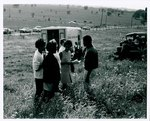 "F08_E11_01 ""The Learning Tree"" cast and crew members take a break while on location in Bourbon and Linn counties, Kansas by Unknown"
