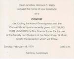 Concert dedicating the two kawai grand pianos