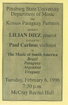 Lilian Diez, pianist assisted by Paul Carlson, violinist in The Music of South America